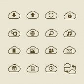 Generic cloud computing iconset, contour flat