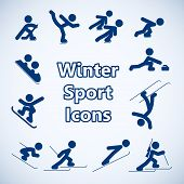 stock photo of luge  - Winter sports icons set isolated vector illustration - JPG