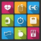 Healthy lifestyle iconset for fitness app