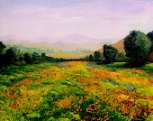 Very Nice Image of an original landscape oil On Canvas
