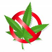 stock photo of ganja  - Stop marijuana sign isolated vector illustration - JPG