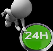 Twenty Four Hours Button Shows Open 24H