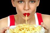 Nice Image of a Beautiful Woman Eating Pasta on Black