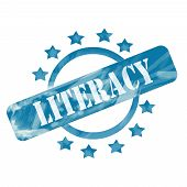 Blue Weathered Literacy Stamp Circle And Stars Design