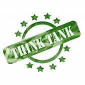 Green Weathered Think Tank Stamp Circle And Stars Design