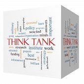 Think Tank 3D Cube Word Cloud Concept