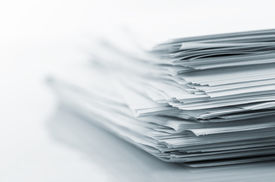 stock photo of messy  - Stack of white papers - JPG