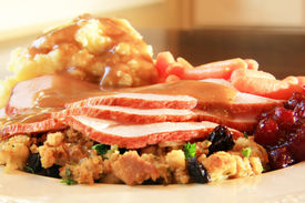 stock photo of christmas dinner  - Turkey dinner with stuffing - JPG
