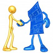Gold Guy Home Construction Blueprint Handshake