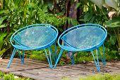 Blue Garden Metal Chairs.