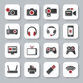 White Flat Multimedia Devices Icons