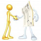 Gold Guy Blank Check Handshake