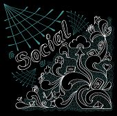 Social webs in doodle style on black background