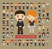 image of leader  - Set of 50 business men and women eps10 vector format - JPG
