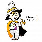 Little girl witch holding baby bottles with witchcraft potions. Happy Halloween card