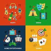 Entertainments icons flat