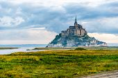 stock photo of mont saint michel  - View at the Mont Saint-Michel in morning haze