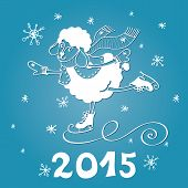 Year of Sheep. Cartoon sheep skate with Snowflakes