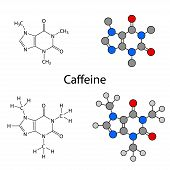 Caffeine Molecule - Structural Chemical Formulas And Models