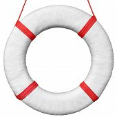 Old Vintage Lifebuoy Isolated On A White Background