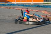 stock photo of karts  - Fast kart in a circuit in the city - JPG