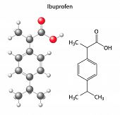 Model of ibuprofen - Structural Chemical Formula Of Analgesic