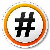 pic of hashtag  - illustration of orange and black icon for hashtag - JPG