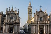 image of turin  - A view of two churches in San Carlo square in Turin - JPG
