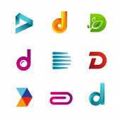 Set of letter D logo icons