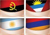 Flags illustration, Angola, Antigua and Barbuda, Argentina,