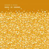 Vector golden shiny glitter texture horizontal frame seamless pattern background