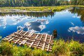 Autumn landscape with Salmon lake in Karelia Russia