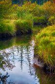 Autumn river scene in Podporozhye Russia
