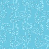 Seamless pattern with doves. Vector illustration.