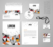Corporate identity template in patch work colorful style.