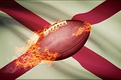 American Football Ball With Flag On Backround Series - Alabama