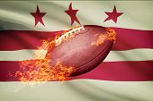 American Football Ball With Flag On Backround Series - District Of Columbia - Washington, D.c.