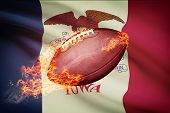 American Football Ball With Flag On Backround Series - Iowa
