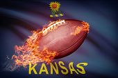 American Football Ball With Flag On Backround Series - Kansas