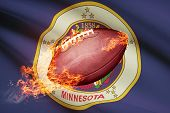 American Football Ball With Flag On Backround Series - Minnesota