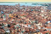 Venice Cityscape - View From Campanile Di San Marco. Unesco World Heritage Site.