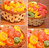 Bright Sweets, Lollipops, Jellies In The Basket On The Wood