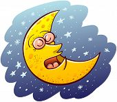 stock photo of wane  - Nice yellow waning moon with bulging eyes and snub nose while sleeping placidly and floating in the middle of a blue space and numerous tiny stars - JPG