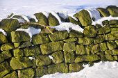 Snow Covered Dry Stone Wall