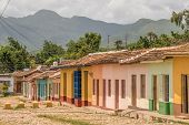 Color full houses along side a street in Trinidad, Cuba