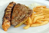 Grilled stuffed sliced pork loin and stuffed burger