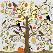 Abstract Stylized Tree With Birds, Insect And Fruit