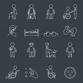 Постер, плакат: Disabled icons set outline