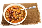 stock photo of parsnips  - Vegetarian Soup cooked from Red and White Kidney Beans ingredients - JPG