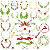 stock photo of christmas theme  - Vector Collection of Christmas Holiday Themed Laurels and Wreaths - JPG